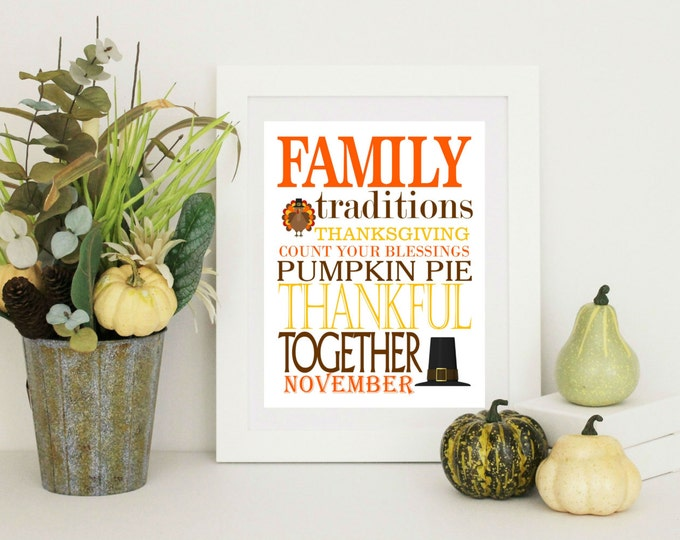 Thanksgiving Decor -  Family Thanksgiving Word Art -  8x10 PDF Instant  Download