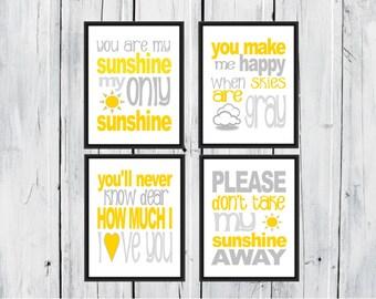 You Are my Sunshine Four Piece Set 8x10 Nursery Decor