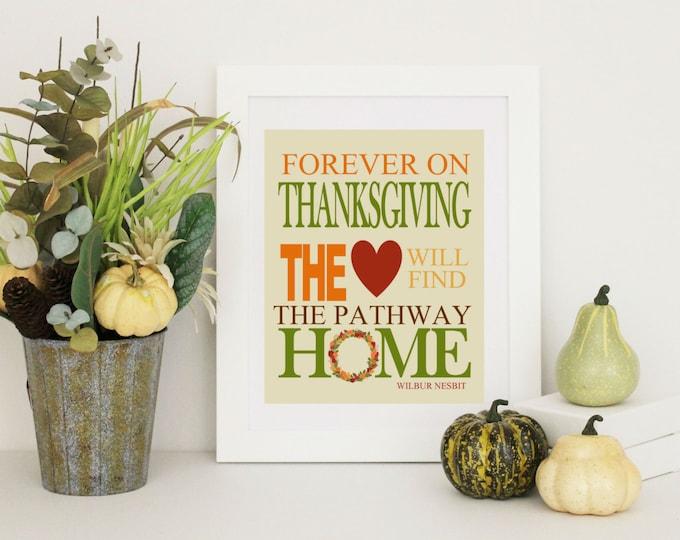 Thanksgiving Decor -  Home Decor - Thanksgiving Word Art Wilbur Nesbit Quote