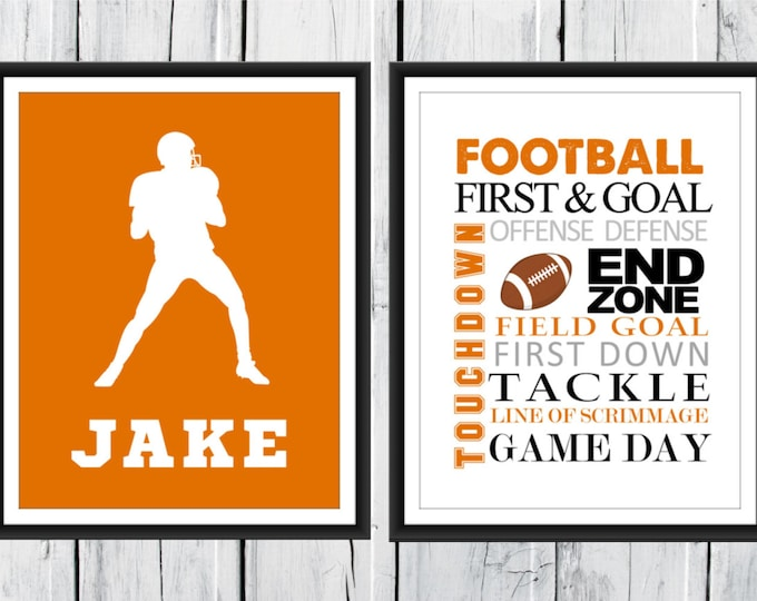 FOOTBALL Word Art Print 2 Piece Set-  Custom Colors and Sizes - Sports Nursery CANVAS AVAILABLE