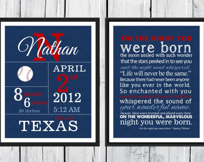 Baby Boy Sports Themed  Birth Announcement Print Set  - Nursery Decor