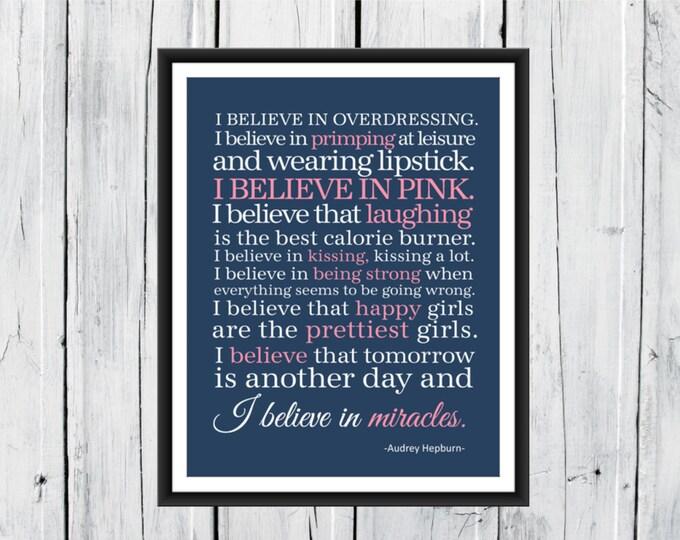 I Believe in Pink - Audrey Hepburn Quotes - Word Art Decor