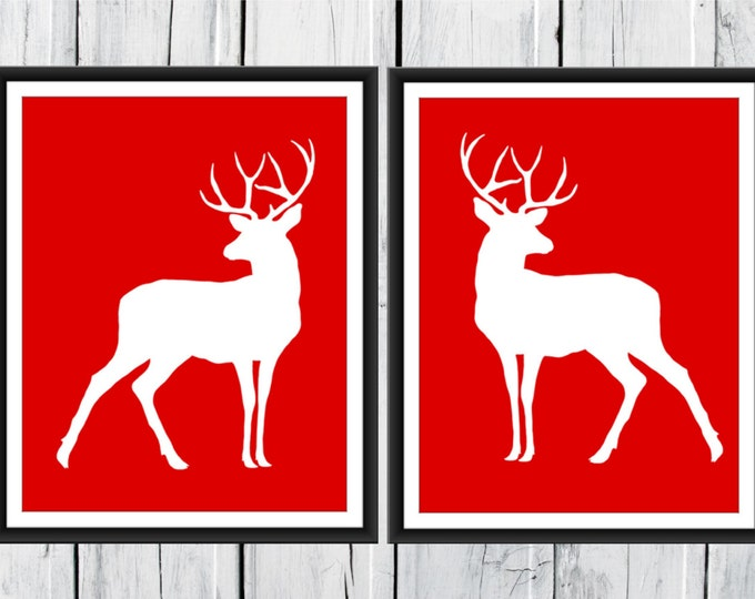 Deer Prints - Hunting Lodge Decor - Two Piece Set