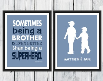 Superhero Brother Print  - Brother's Print  -  Custom Colors -  Nursery Decor - Superhero  Print - Boys Room Decor