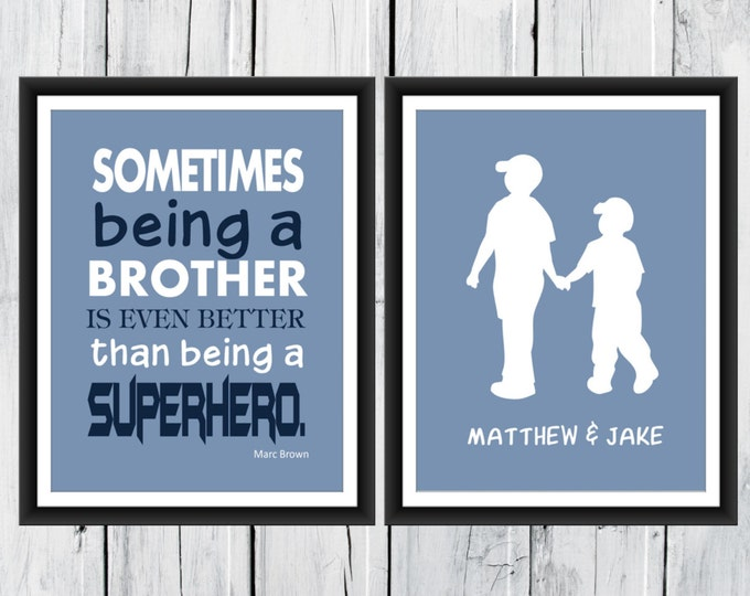 Superhero Brother Print  - Brother's Print  -  Custom Colors -  Nursery Decor - Superhero  Print - Boys Room Decor