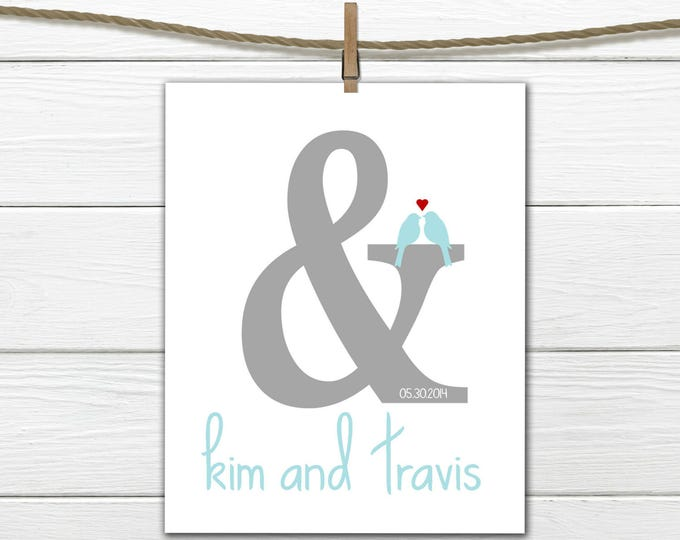 Wedding Gift - Bridal Shower Gift - Ampersand - Home Decor - Engagement Gift