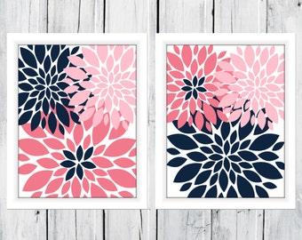 Nursery Flowers 2 Print Set Custom Colors and Size - Bathroom Decor - Blooms