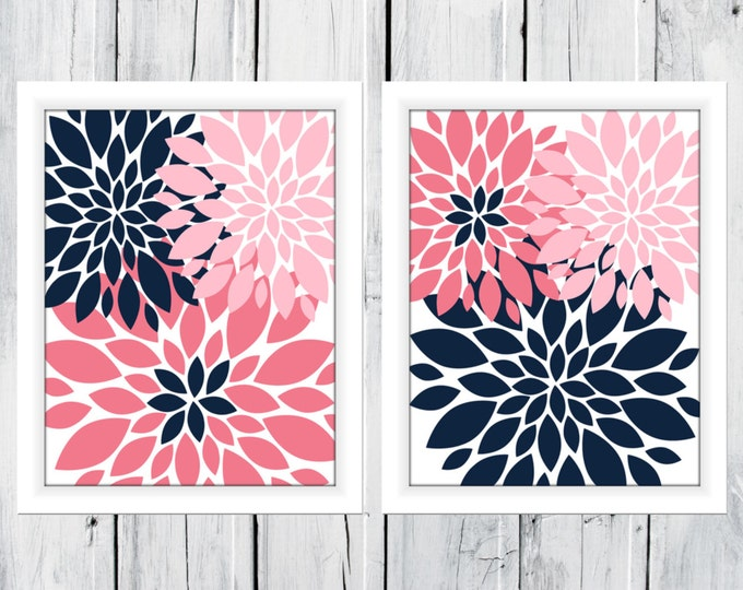 Nursery Flowers 2 Print Set Custom Colors and Size - Bathroom Decor - Blooms