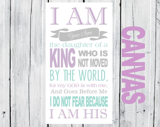 Nursery Decor - I AM HIS custom Canvas - 12x24  Canvas