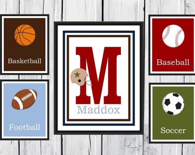 Sports Nursery Decor - 5 Piece Set - Custom Colors