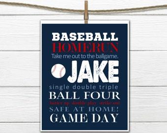 Baseball Word Art Print - Baseball Nursery - Baseball Room Decor -  Custom Colors and Personalized