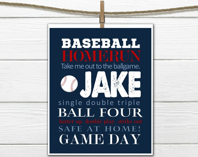Baseball Word Art Print - Baseball Nursery - Baseball Room Decor -  Custom Colors and Personalized