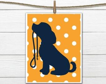 Puppy Nursery Decor   -  Custom Colors - Puppy Silhouette - Nursery Wall Decor - Dog Silhouette
