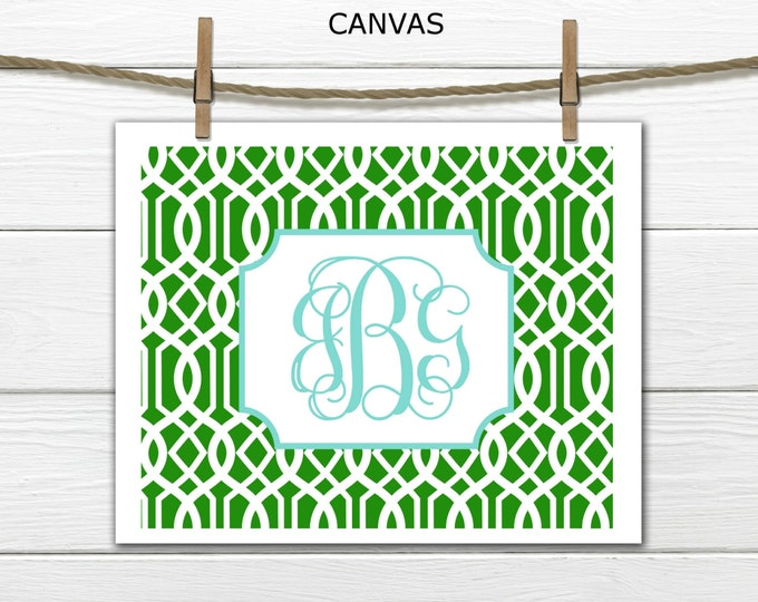 Monogram on Lattice  Custom Canvas Prints - Dorm Decor Canvas - Choose Size and Colors