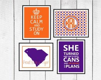 Dorm Decor - State  & School  Dorm Prints - School Colors or Customize  8x10 -11x14