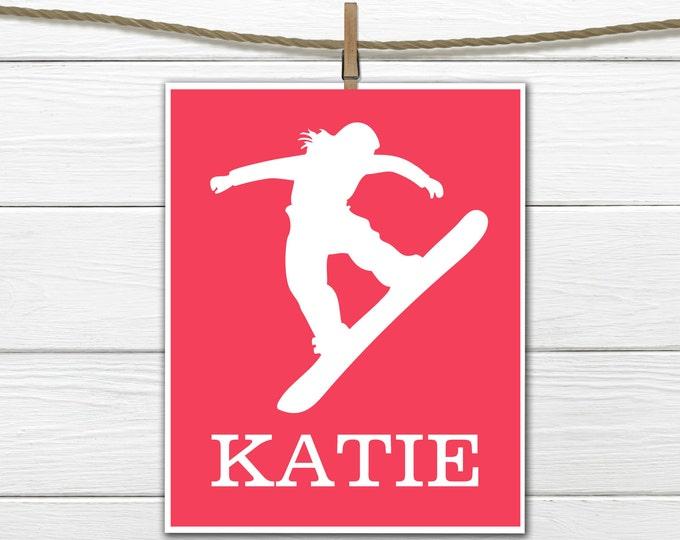 Snowboarder   Sports Silhouette- Girl Snowboarding  - Custom Print -  Personalized