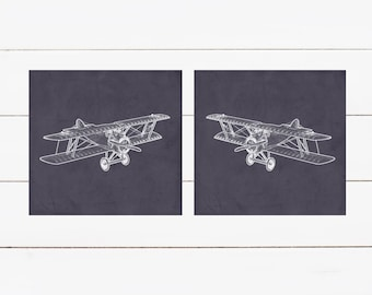 Airplane Nursery Prints  - 2 Print Set -  Nursery Decor -  Custom Colors -  Vintage Planes