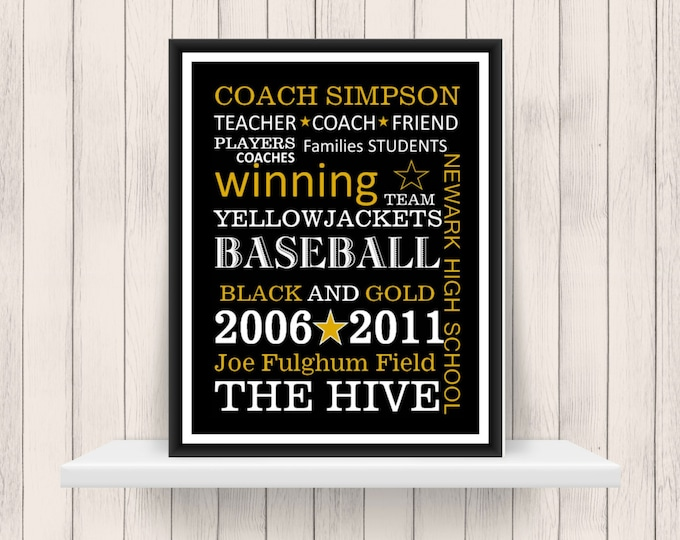 Personalized Coach Gift - Print for coach- Any Sport Team - Gift for Coach