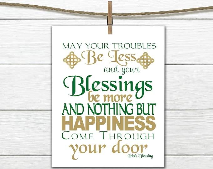 St Patricks Day Decor - Irish Blessing Print - Subway Art  Instant Download Printable 8x10
