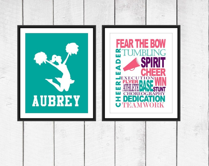 Cheer Word Art Print 2 Piece Set-  Custom Colors and Sizes - Sports Nursery - Cheerleaders Print