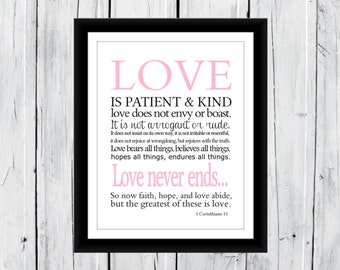 Love is Patient & Kind 1 Corinthians Print 11 x 14