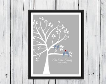 Family Tree Print - Birds & Baby Birds - Home Decor