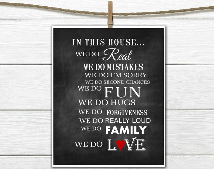 In This House - Family Rules -  Instant Download Printable 8x10