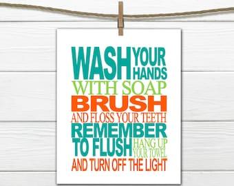 Bathroom Rules Print - Bathroom Decor - Custom Colors