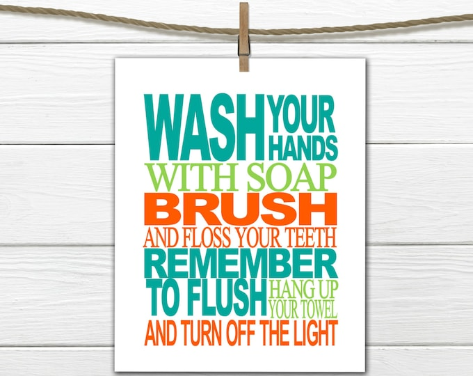 Bathroom Rules Print - Bathroom Decor - Custom Colors