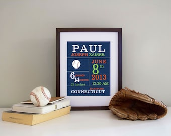 Birth Announcement Wall Art Print  Print Baby Boy Sports Themed CANVAS PRINT available
