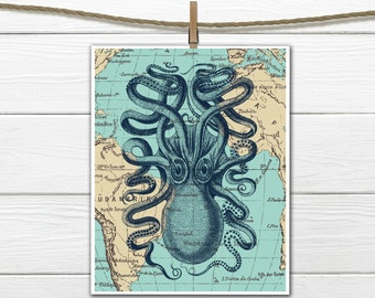 Nautical Decor - Octopus Printable  - Dorm Decor - 8 X 10  INSTANT Download