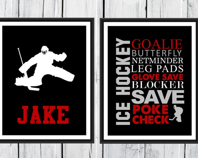 ICE HOCKEY - GOALIE Word Art Print 2 Piece Set-  Custom Colors and Sizes - Sports Decor