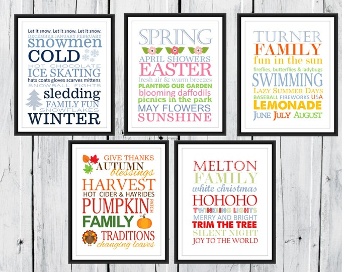 Seasons Print Set 5 Digital Prints - 8x10