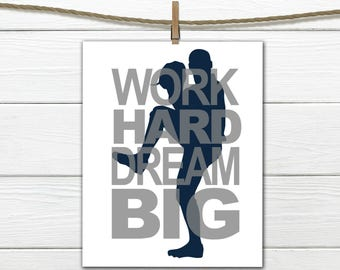 Sports SILHOUETTE  Print -  Work Hard - Dream Big  - Pick your Sport - Baseball Decor - Canvas Available