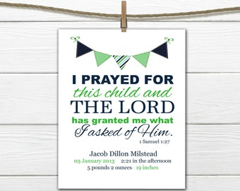 Bible Verse Birth Announcement Print - Birth Info Stats - Choose Size and Colors