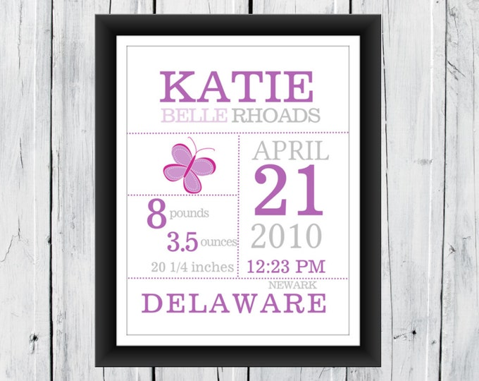 Baby Girl Custom Birth Announcement Wall Art Print 8x10