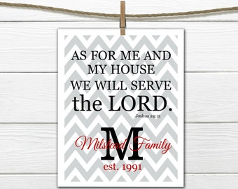 "Bible Verse Joshua 24:15 ""We will Serve the Lord"" - Chevron Print"