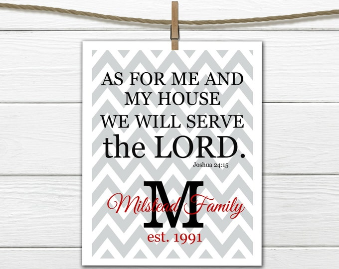 "Bible Verse Joshua 24:15 ""We will Serve the Lord"" - Chevron Print"