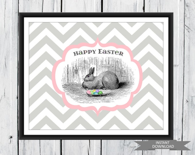 Easter Bunny Print - Chevron Print  INSTANT DOWNLOAD PDF Fast and Easy Easter Decor 8 x10