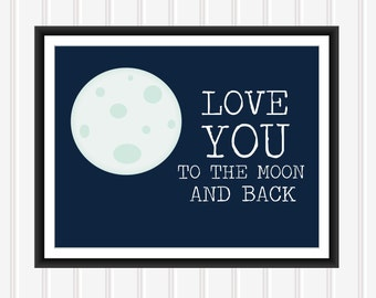 Love you to the Moon - Nursery Print - 8x10 - INSTANT DOWNLOAD