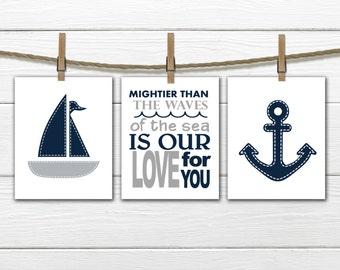 Nautical Nursery Prints  - 3 Print Set -  Nursery Decor -  Anchor  Nursery  -  Gray & Blue Nursery Decor