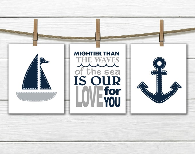 Nautical Nursery Prints  - 3 Print Set -  Nursery Decor -  Anchor  Nursery  -  Gray & Blue Nursery Decor