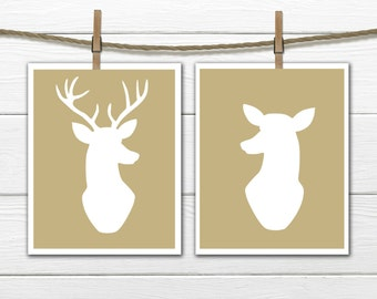 Deer Silhouette - Antlers - Hunting Lodge Decor - Home Decor-  Antler Print