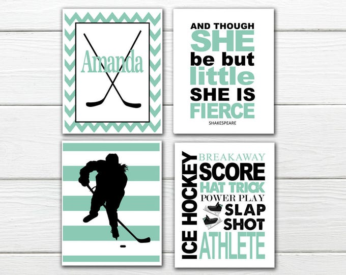 Ice Hockey - Women's  Print Set-  Personalized - Girls Ice Hockey - Canvas Available