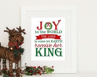 Christmas Decor Joy to the World Print