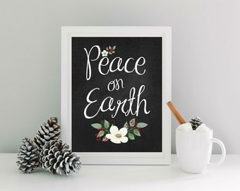 Peace on Earth    - Instant Download 8x10 - Chalkboard Background