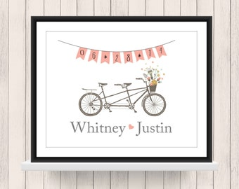Wedding Gift - Bridal Shower Gift - Tandem Bike Print - Home Decor - Engagement Gift