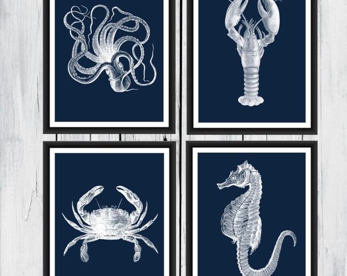Nautical Sea Life Prints - seaside prints - Beach Decor