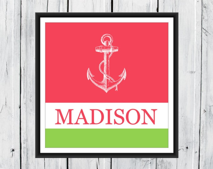 Anchor Print - Nautical Nursery -  Beach Decor -  Boating Print - Your choice of Size and Colors