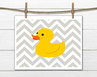 Children's Art Print - Bathroom Decor - Rubber Duck - Yellow Ducky - Instant Download - 8x10